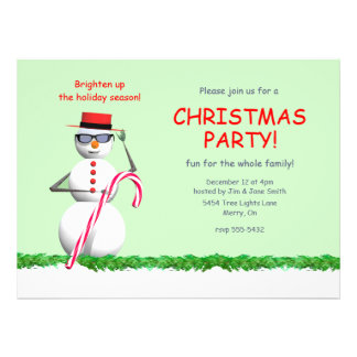 Holiday Snowman Christmas Party Personalized Invitations