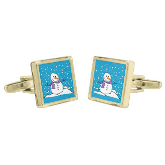 Holiday Snowman Gold Finish Cuff Links