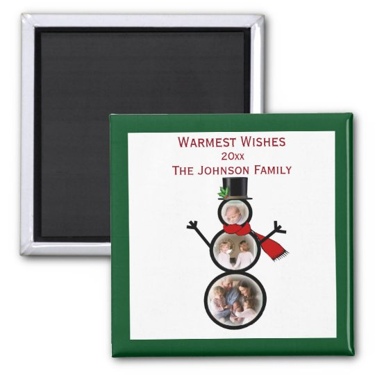 Holiday Snowman Photo Template to Personalise Magnet