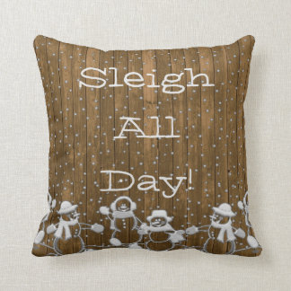 Holiday Snowmen Sleigh All Day! Throw Pillow