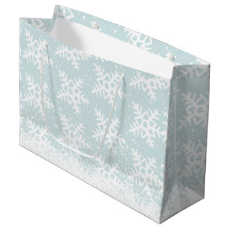 Holiday Snowy Sky Falling Snowflakes Christmas Large Gift Bag