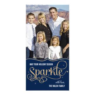 Holiday Sparkle Holiday Photo Card - Navy