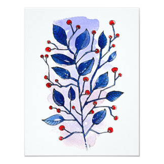 Holiday Sprig 11 Cm X 14 Cm Invitation Card