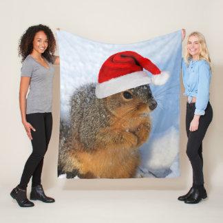 Holiday Squirrel Fleece Blanket