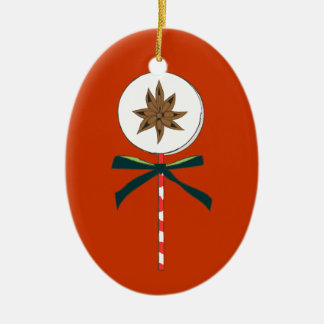 Holiday Star Anise LolliPop Illustration Ceramic Oval Decoration
