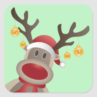 Holiday Stickers- Rudolph the Red Nosed Reindeer Square Sticker