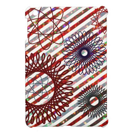 Holiday Stripes and Spirographs Sparkling Pattern iPad Mini Case