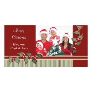 Holiday Stripes Holly Holiday Photo Card