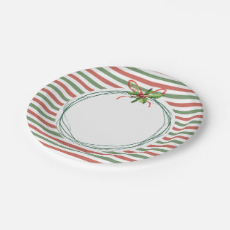 Holiday Stripes with Rustic Wreath Paper Plate