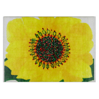 Holiday Sunflower Glass Cutting Board