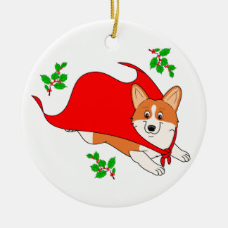 Holiday Super Corgi with Cape Ceramic Ornament