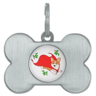 Holiday Super Corgi with Cape Pet Name Tag