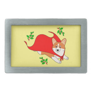 Holiday Super Corgi with Cape Rectangular Belt Buckle