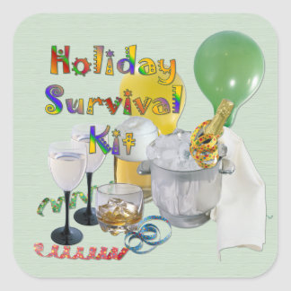 Holiday Survival Kit Square Sticker