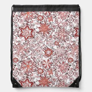 Holiday Swirl and Snowflake Abstract Design Drawstring Bag