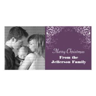 Holiday Swirls Photo Card, Purple