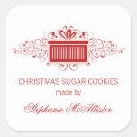 Holiday Swirls Present Baking Stickers, Red