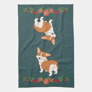 Holiday Talk to the Tail Corgi Tea Towel
