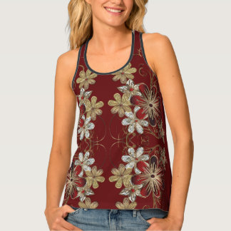 Holiday Tank Top with Gold Swirls and Poinsettia
