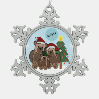 Holiday Teddy Bears Pewter Snowflake Decoration