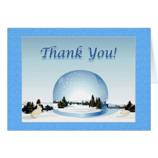 Holiday Thank you Card Snow Globe