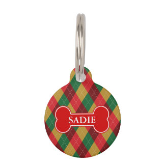 Holiday Theme Argyle Pattern & Bone And Pet's Info Pet ID Tag