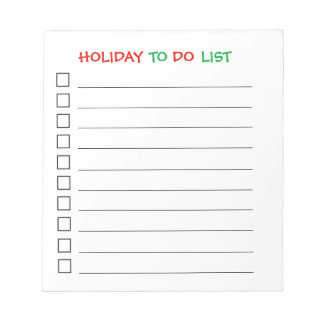 """""""Holiday To Do List"""" Notepad"""