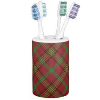 Holiday Traditional Christmas Tartan Pattern Soap Dispenser And Toothbrush Holder
