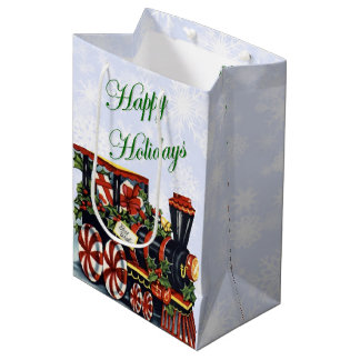 Holiday Train Medium Gift Bag