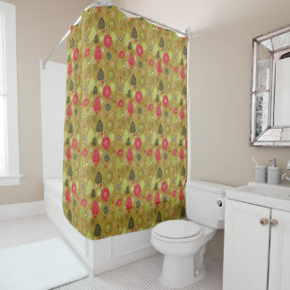 Holiday Tree Background Shower Curtain