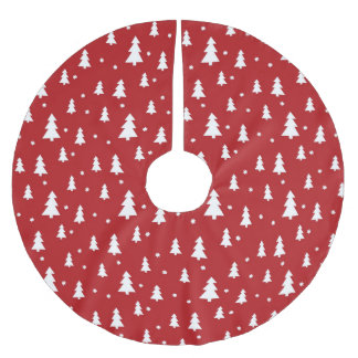 Holiday Tree Pattern Brushed Polyester Tree Skirt
