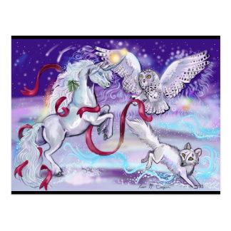 Holiday Unicorn Owl and Fox PostCard