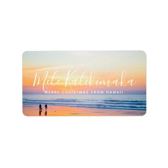 Holiday Vacation Greeting Photo Mele Kalikimaka Label