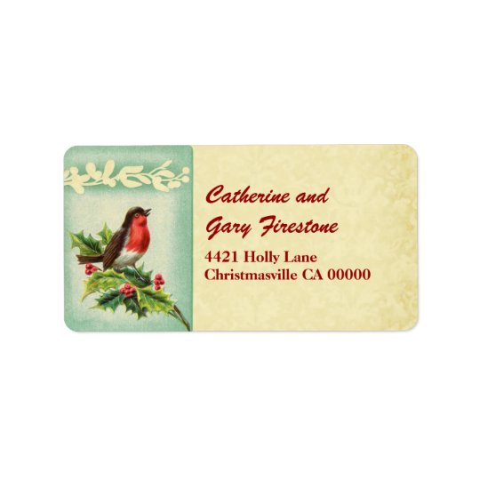 Holiday Vintage Christmas Singing Bird and Holly Address Label