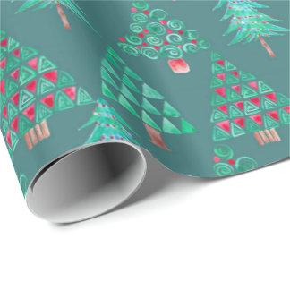 Holiday Watercolor Christmas Tree Gift Wrap Teal