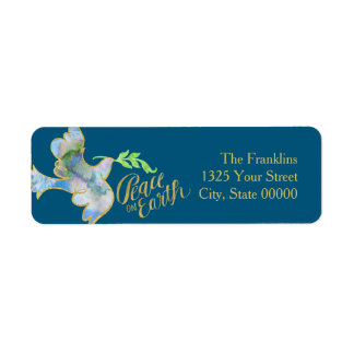 Holiday Watercolor Dove Gold Peace on Earth Return Address Label