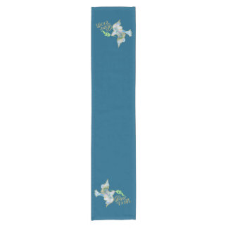 Holiday Watercolor Dove Gold Peace on Earth Short Table Runner