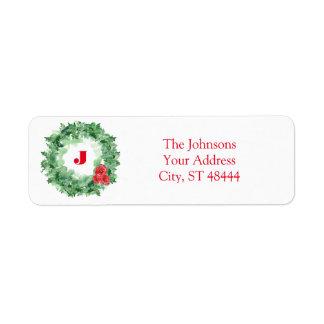 Holiday Watercolor Wreath Return Address Label