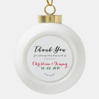 Holiday Wedding Favor Ceramic Ball Christmas Ornament