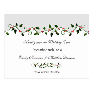 Holiday Wedding Save the Date Red Berry Vine Postcard