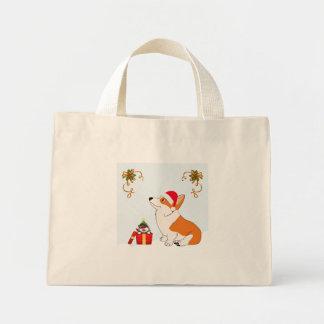 Holiday Welsh Corgi Cartoon Mini Tote Bag