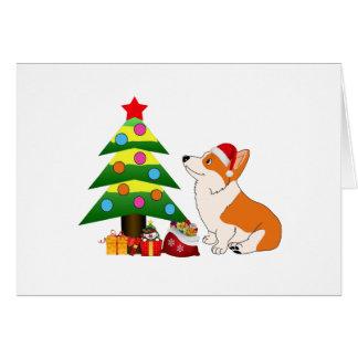 Holiday Welsh Corgi Cartoon with Tree Card