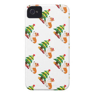 Holiday Welsh Corgi Cartoon with Tree Case-Mate iPhone 4 Cases