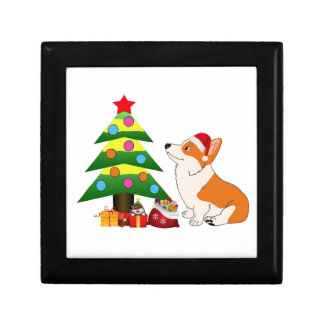 Holiday Welsh Corgi Cartoon with Tree Gift Box