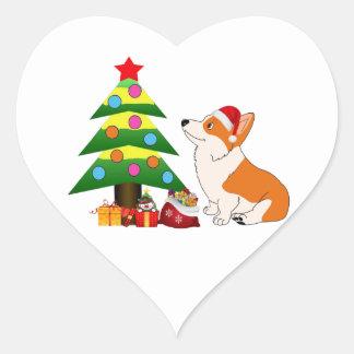 Holiday Welsh Corgi Cartoon with Tree Heart Sticker