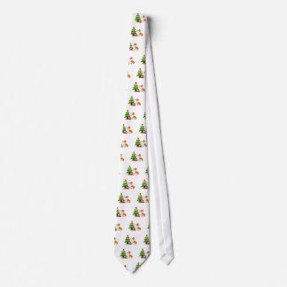 Holiday Welsh Corgi Cartoon with Tree Tie