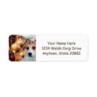 Holiday Welsh Corgi with Ornaments Return Address Label