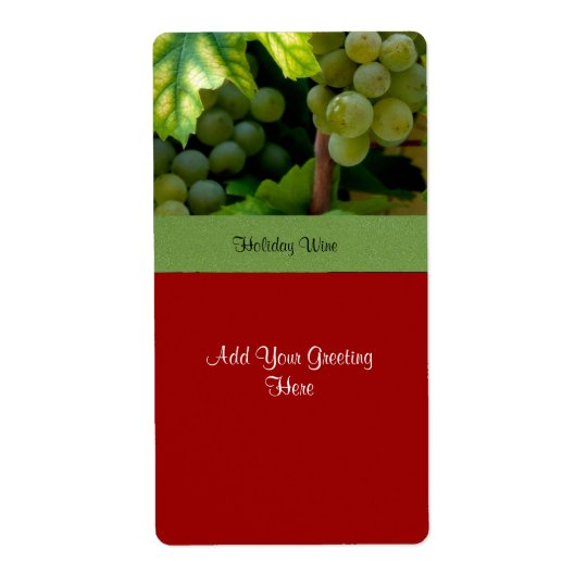 Holiday Wine Label with White Grapes