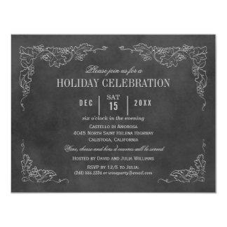 Holiday Wine Party Invitation | Black Chalkboard