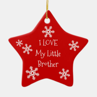 Holiday Winter Snowflake I Love My Brother Sister Ceramic Star Decoration